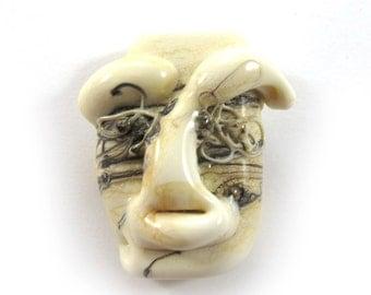 Lampwork bead, Handmade lampwork bead  glass, Lampwork beads, focal, ivory mask (1) SRA