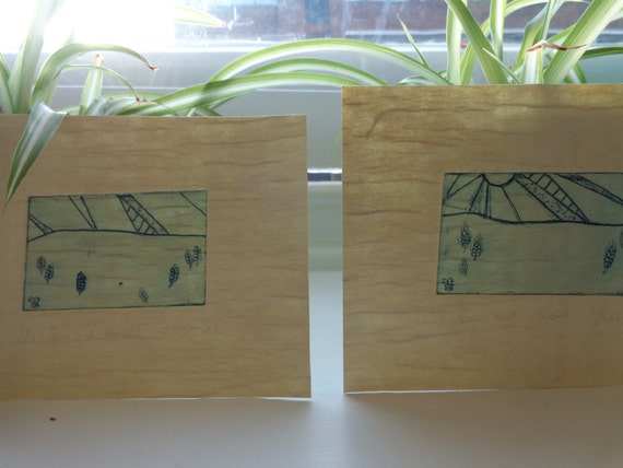 Sun and wheat etching on Japanese paper, diptych