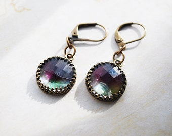 Unique Hand-Silk Painted Brass Earrings - FREE US SHIPPING