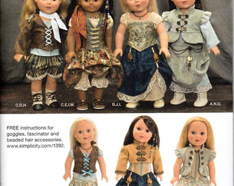 """Simplicity 1392 18"""" Doll Clothes Historical American Steampunk Goggles Fascinator Victorian Sewing Pattern New FF UNCUT"""