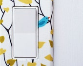 Light Switch Plate Cover, slider rocker switch, gfci outlet wallplate - simple blue birds on branches
