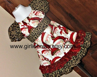 Boutique Leopard Santa Holiday Ruffled Peasant Dress with Sash 3 6 12 18 month mo 2T 3T 4T 5T 6 7