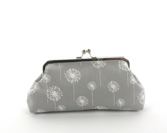 Gray White Dandelion Bridesmaid Clutch, Bridal Clutch, Wedding Purse