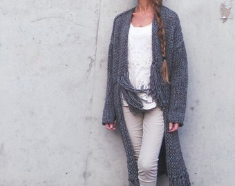 women's sweater, BOHO Fringe sweater, long sweater, women's clothing, boho coat, gray sweater coat