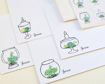Terrarium Personalized Stationery or Thank You Notes and Sticker Set