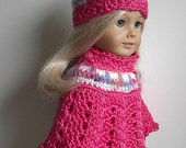 Crocheted Poncho and Hat Set made by Lavenderlore to fit American Girl and other 18 Inch Dolls - Bright Pink with Cream and Jeweltone Trim