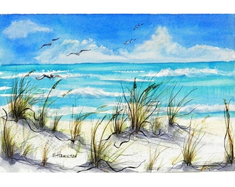 Seascape Watercolor Painting Original Seascape Coastal Decor White Sand Sea Oats and Gulls Florida Turquoise Ocean Art Mary Hamilton DreamON
