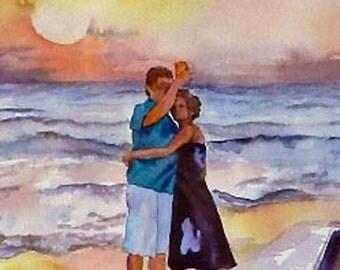 Watercolor Beach Sunset, Romance, Figures on Beach, Couple Gift, Beach Art, Beach Vacation, Original Painting by Mary Hamilton, Landscape