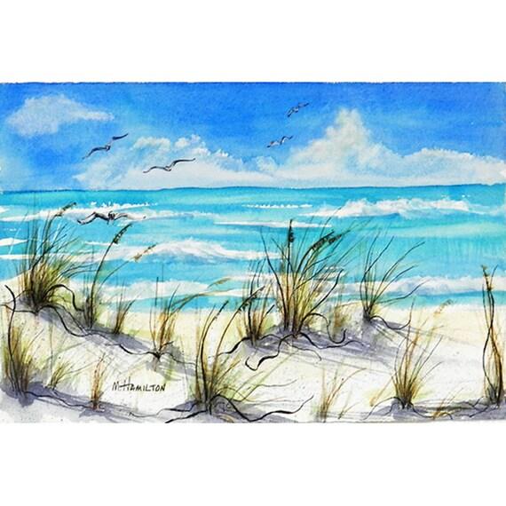 Articoli simili a seascape watercolor painting original for Disegno paesaggio marino
