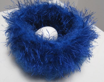 "cobalt felted bowl, blue felted bowl, blue felt nest, blue crocheted bowl, blue felted basket, blue crochet basket ""hub"""