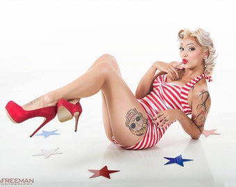 The Paris Maillot in Red and White Stripes One piece retro Pin up swimsuit