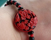 Black and Red Flower Beaded Bracelet