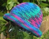 Multicolor Cobalt Blue Green Pink Purple Winter Wool Cloche Brimmed Hat