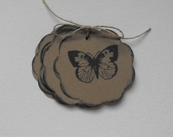 Butterfly Paper Tags Stamped by The Paper Peddler for gift wrap grab bags Party Favors adornments 12 pieces