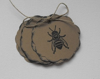 Honey Bee Paper Tags Stamped by The Paper Peddler for gift wrap grab bags Party Favors adornments 12 pieces