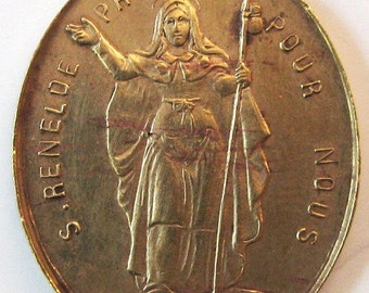 Antique French St Reneloe 3 Saints 1800s Religious Medal Pendant Charm