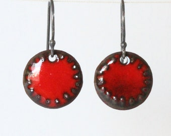 Red Dangle Earrings - Nomad Earrings - small ( more colors available )