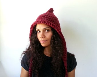 Wine Pixie Hat. Chunky Handknit. Hoodie. Cozy and Warm. Choose your Color.