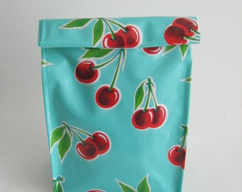 Lunch Bag, Lunch Sack, Oilcloth Lunch Bag, Cherry Lunch Bag, Turquoise Lunch Bag, Reusable Lunch Bag, Travel Bag, Gift Bag, Retro, Cherries