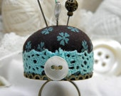 Turquoise and Chocolate Pincushion Ring