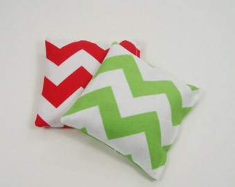 Kids Bean Bags - Christmas Chevron -  2 Bean Bag Set - Stocking Stuffer - Kids