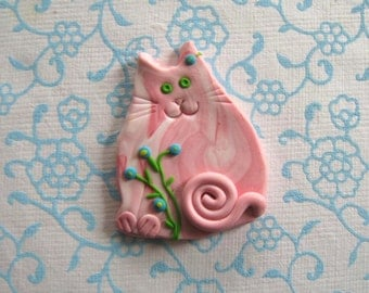 Fimo Polymer Clay Marbled Cat with flowers Brooch Pin or Magnet
