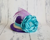 Simply Chic - Purple Mini Top Hat with Handmadd Aqua Flower and Purple Feathers