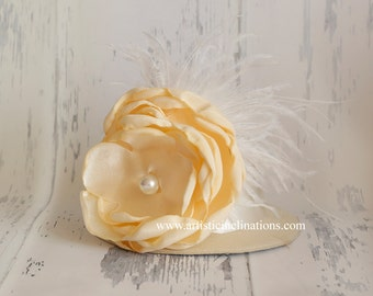 Dreaming of You - Ivory Mini Top Hat with Handmade Flower Pearls and Feathers, Perfect Photo Prop