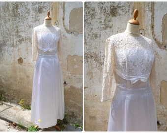 Vintage 1960/60s off white sateen & guipure lace bridal dress / wedding size S