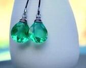 Green Quartz Briolette on Sterling Silver Curvy Hoop Earrings