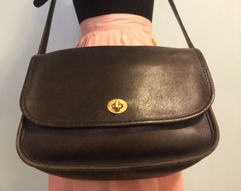 Vintage 70s black leather coach messenger purse