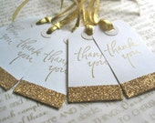 Gold Thank You Bridesmaids Gift Tags, Wedding Favor Tags, Set of 5