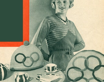 German Vintage Knitting Patterns - 1930s - Hats, Sweaters, Housewares, and more!