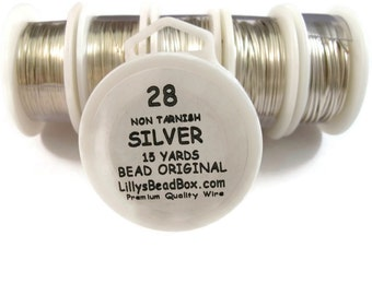 Silver Plated Wire - 28 Gauge Wire for Making Jewelry, Non Tarnish Wire, Wire Wrapping Supplies, Thin Round Wire for Beads / Gemstones