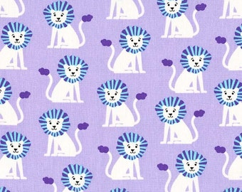 Michael Miller, Mini Lions on Lilac, LAST 50 Inches