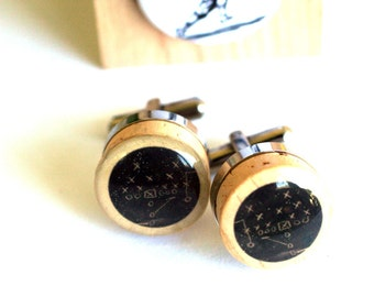Football Cufflinks - Chalkboard Football Play on Cork Cufflinks, Vintage Football Player Art, Steel, Recycled Wine Corks by Uncorked