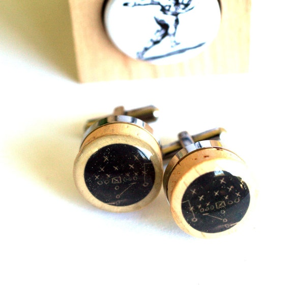 Football Cufflinks - Chalkboard Football Play on Cork Cufflinks, Vintage Football Player Art, Steel, Recycled Wine Cor