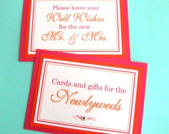 Two 5x7 Flat Wedding Signs in Hot Pink and Orange - Wedding Guest Book and Cards and Gifts - READY TO SHIP