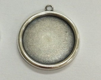 Plain Edge Setting, 12 Silver Ox (Oxidized) Round 15mm Plain Edge Settings Bezels for Glass , Typewriter Keys and More