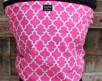 Super Lightweight ORGANIC BAMBOo Baby Wrap Sling Carrier-Pink Lattice on Black -Newborn through Toddler- DvD Included