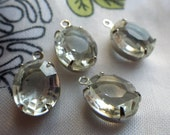 Vintage Crystal 12x10mm Glass Oval Silver Plated Drops 4 Pcs