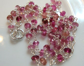 Pink Tourmaline  Sterling Silver Rosary Style Links Necklace