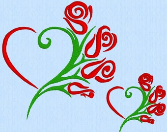 Heart of Rose Bouquet Machine Embroidery Design File in two sizes