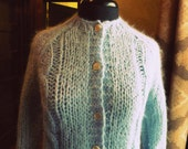 Vintage robin egg blue chunky cable knit cardigan sweater