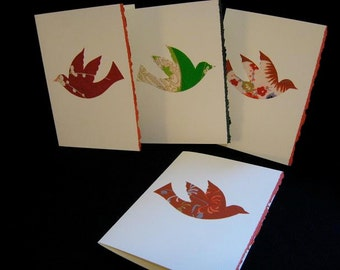 Japanese kimono silk peace doves greeting cards - set of 5