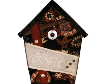 Small Art Quilt, Wall Hanging, Fabric Birdhouse, Black and Brown, Asian Inspired