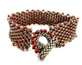 Red and Gray Bracelet, Beadwoven Seed Bead Jewelry, Handwoven Picasso Bracelet