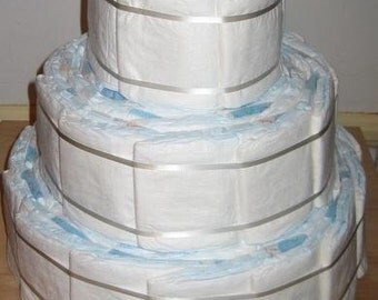 MEGA 3 tier DIY Designer Diaper Cake Undecorated Plain DIY baby shower gift 100 diapers
