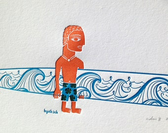Longboard Surfer Print