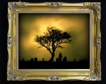Gothic Dark Art Melancholy Print - ALMOST SUNSET - Cemetery - Silhouette - 8x10